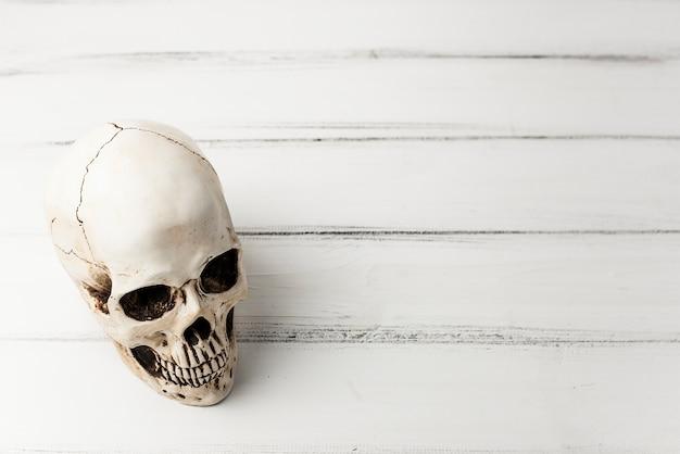Жуткий череп на белом столе