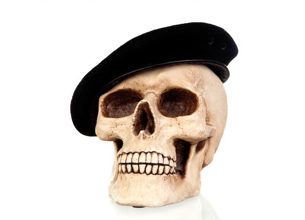 Creepy skull with a black beret