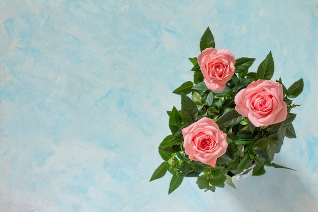 Creeting valentines day, mothers day or birthday. bouquet of fresh rose flowers. copy space.