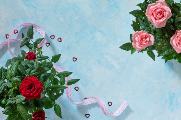Creeting valentines day, mothers day or birthday. bouquet of fresh rose flowers.
