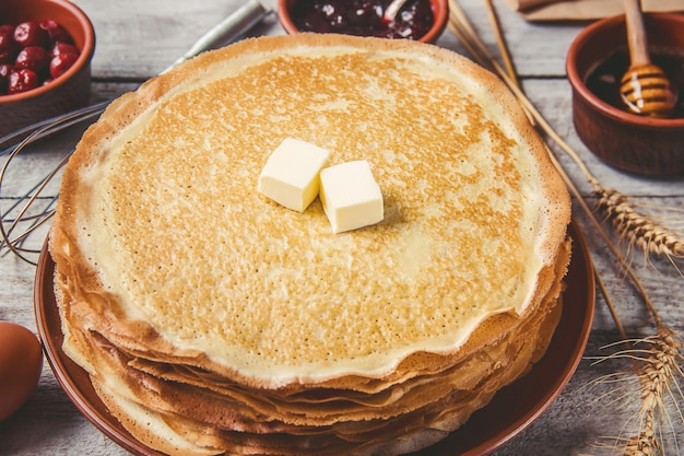 Crepes are homemade. pancakes. selective focus. food