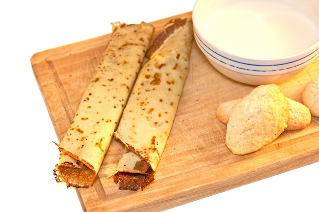 Crepes, cookies and milk