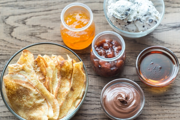 Crepes with different options of toppings