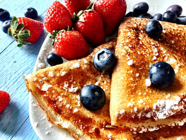 Crepes with fruit arandanos