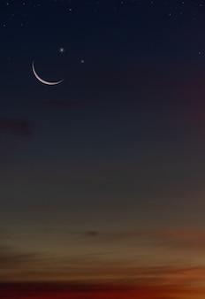 황혼의 하늘 배경에서 일몰 후 어두운 푸른 밤과 함께 초승달과 별 수직