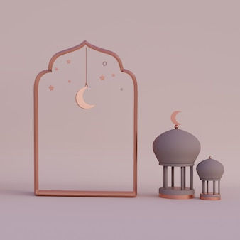 Полумесяц арабский фонарь рамадан карим маулид ифтар исра мирадж 3d-рендеринг