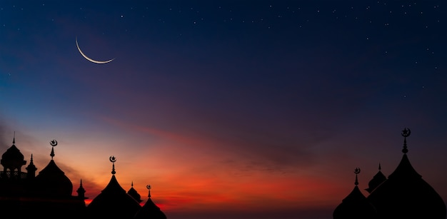 Crescent moon over dome mosques on twilight dusk