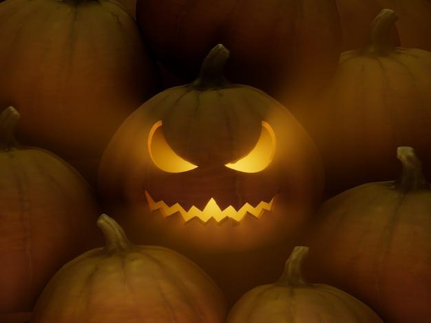 초승달 눈 비뚤어진 입 조각 호박 얼굴 이모티콘 3d 그림 렌더링 어두운 조명