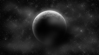 Crescent moon on cloudy space