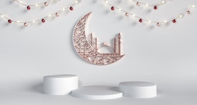 Crescent, mosque with pedestals on white background - holy month ramadan kareem