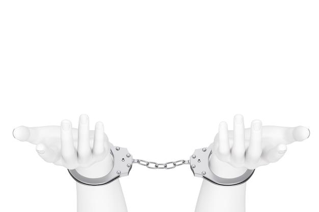 범죄와 법률 개념입니다. 흰색 바탕에 수 갑과 흰색 추상 손입니다. 3d 렌더링