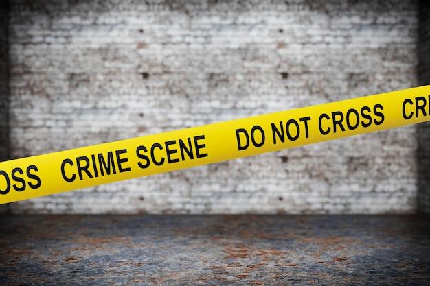 Crime scene yellow tape on grunge background