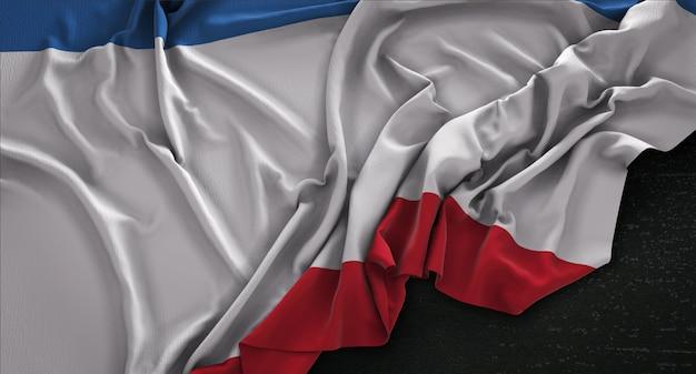 Крым флаг морщинистый на темном фоне 3d render