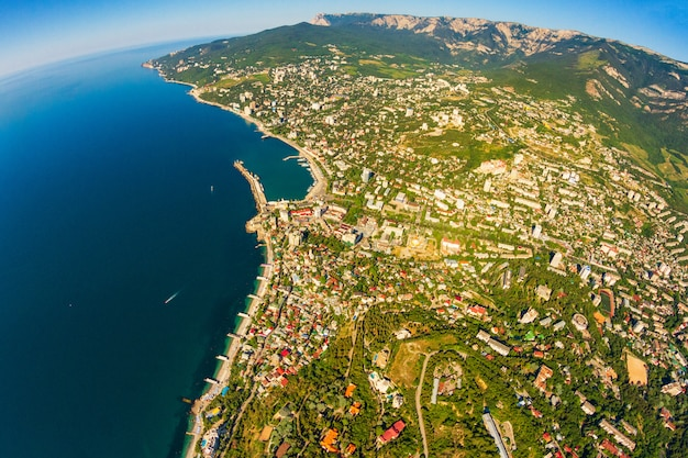 Crimean coast view from the top of the mountains, sea and forest