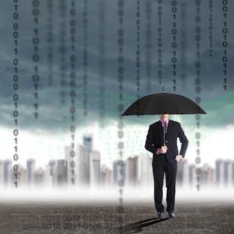 危機、傘を持って解決のために立っているビジネスマンは彼のビジネスを解決し、考える