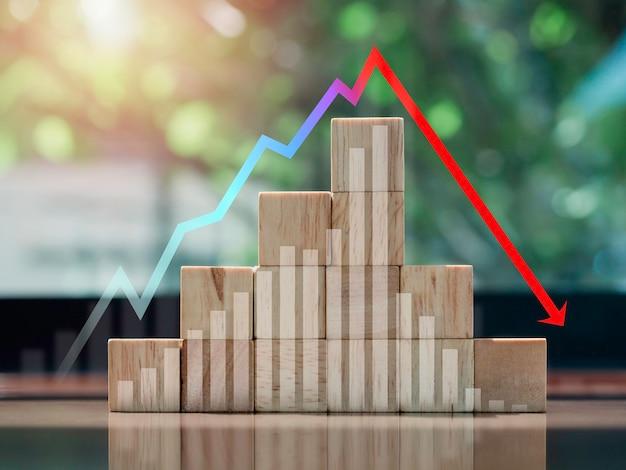 危機チャートとグラフ。机の上の木製のブロックのステップの上部にある増減矢印による景気後退、エコスタイル。ビジネスのボラティリティトレンドプロセス、財務、および経済概念。