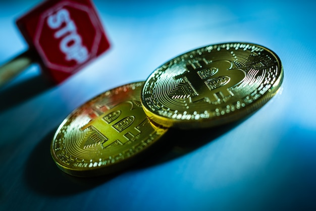 Crisis concept of bitcoin cryptocurrencies, stop investments.