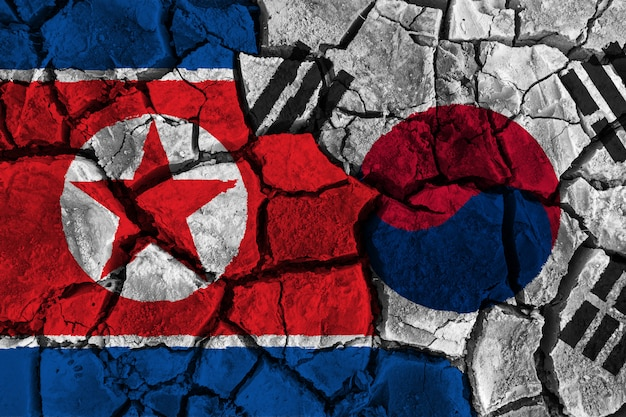 Crisis and confliction concept of south korea and north korea