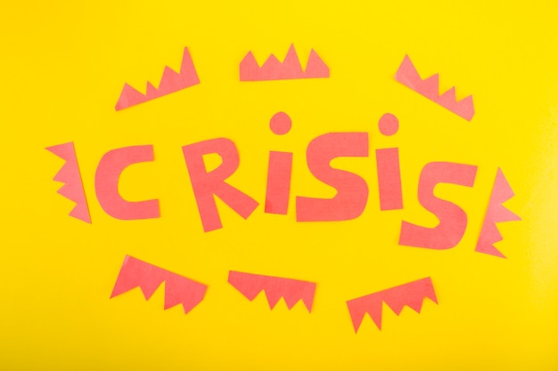 Crisis lettering of paper