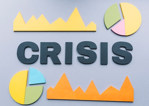 Crisis word surrounded by various graph on grey backdrop