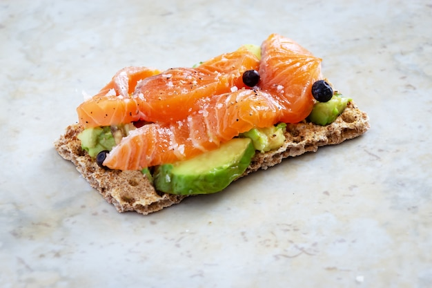Crisp sandwiches with avocado and salmon.