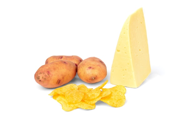 ポテトチップス、チーズ、ポテトを白で分離。