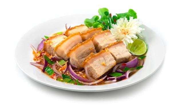 바삭 바삭한 배 돼지 고기 홍콩 매운 샐러드와 적 양파 달콤하고 신맛이 나는 태국 음식 퓨전 장식 야채 사이드 뷰