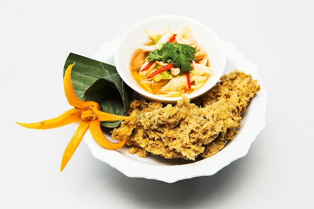 Crispy catfish salad, thai food