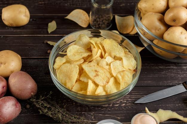 Crispy chips and raw potato
