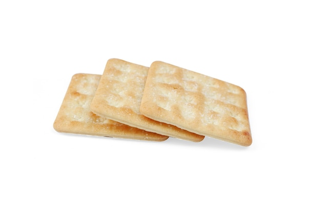 흰색 배경에 고립 된 설탕과 바삭한 크래커