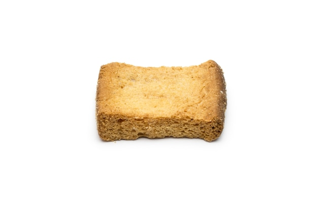 Crispy and delicious toast biscuit on isolated white background