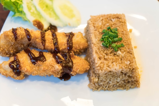 Crispy fish with katsu fried rice