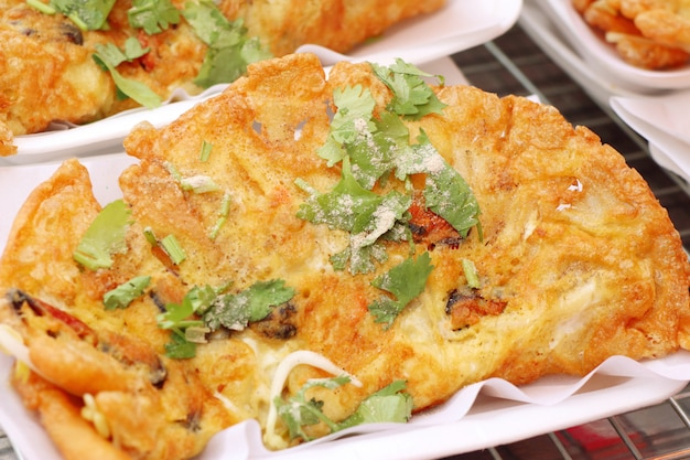 Crispy fried mussels with egg