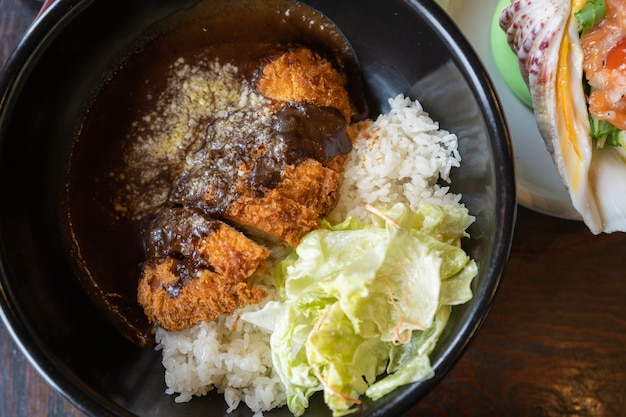 Crispy fried pork cutlet with curry rice