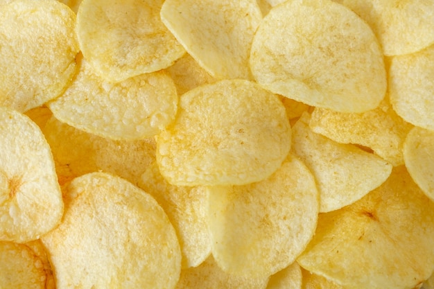바삭한 감자 칩 스낵 질감 배경 평면도