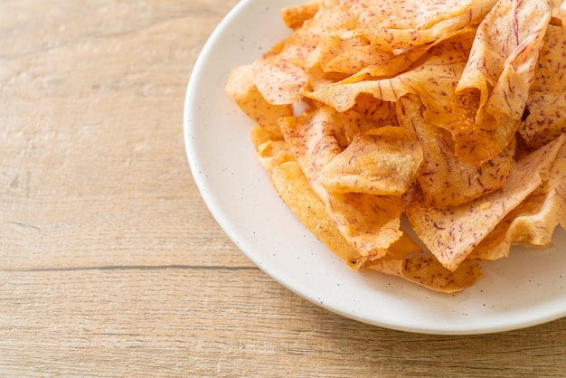 Crispy taro chips - fried or baked sliced taro