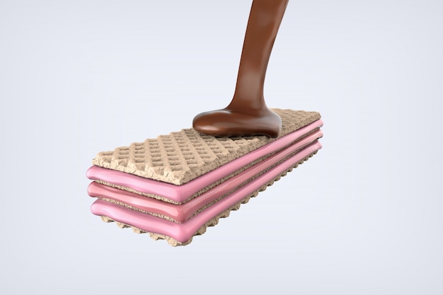 Crispy wafer peanut with strawberry milk cream and chocolate, 3d illustration.