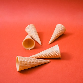 Crispy wafers cups on bright background