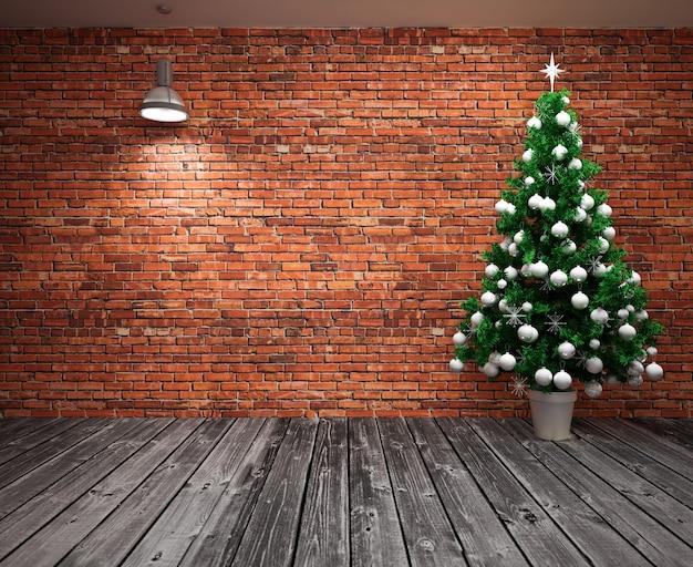 Cristmas banner on wall with christmas tree