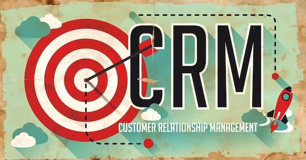 Crm 개념. 긴 그림자가있는 평면 디자인의 오래 된 종이에 포스터.