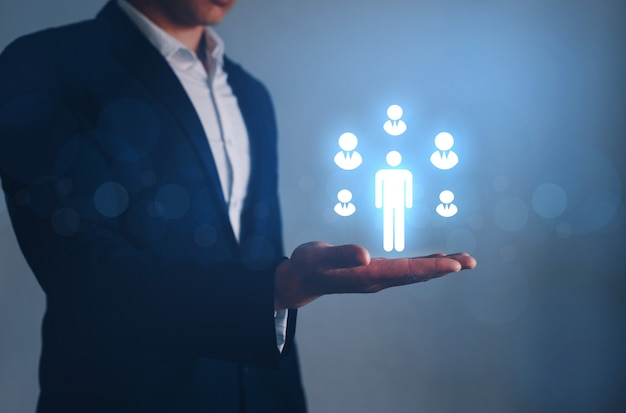Crm and recruitment. human resources business concept