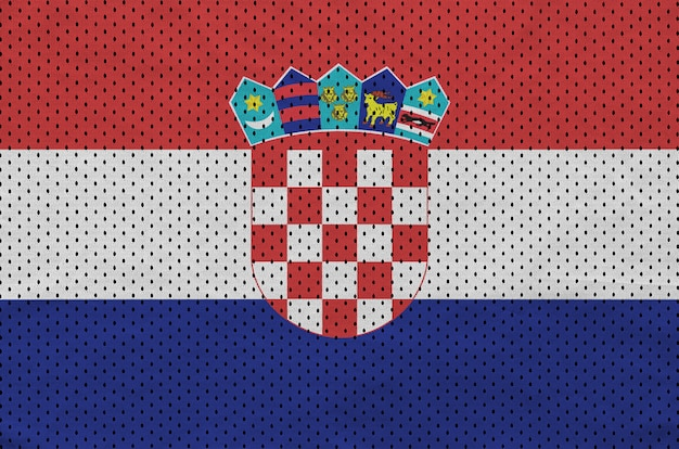 Croatia flag printed on a polyester nylon sportswear mesh fabric