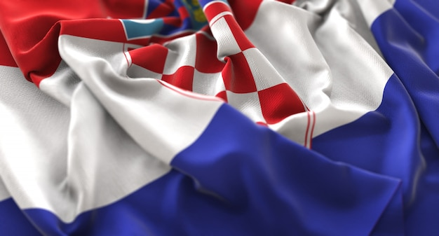 Croatia flag ruffled beautifully waving macro close-up shot