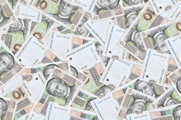 Croatian kuna bills lies in big pile rich life conceptual background big amount of money