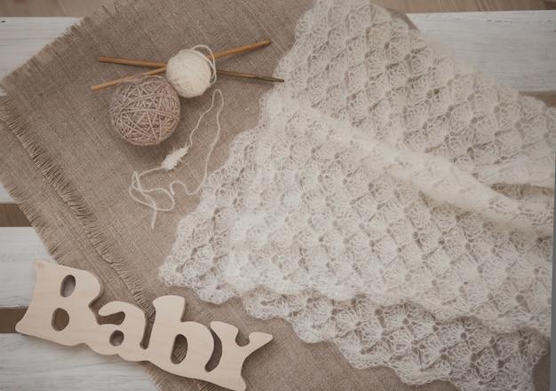 Crochet white scarf