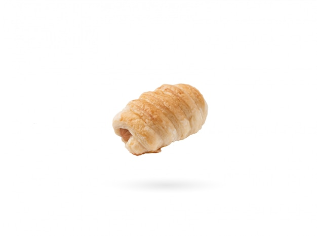 Croissant sausage on isolated