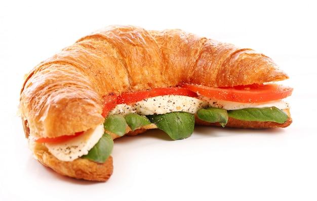 Croissant with basil, tomato and mozzarella
