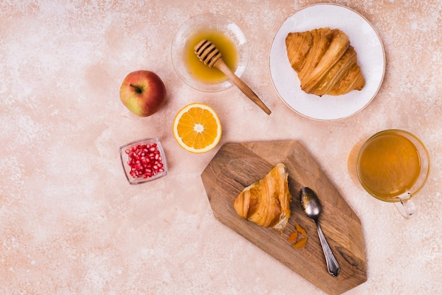 Croissant with delicious honey