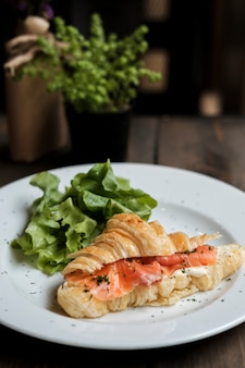 Croissant with fresh salmon