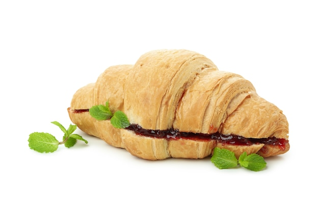 Croissant with raspberry jam, isolated on white background